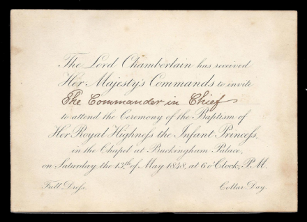 Arthur Wellesley Duke Wellington Annotated Invitation to Royal Baptism Princess